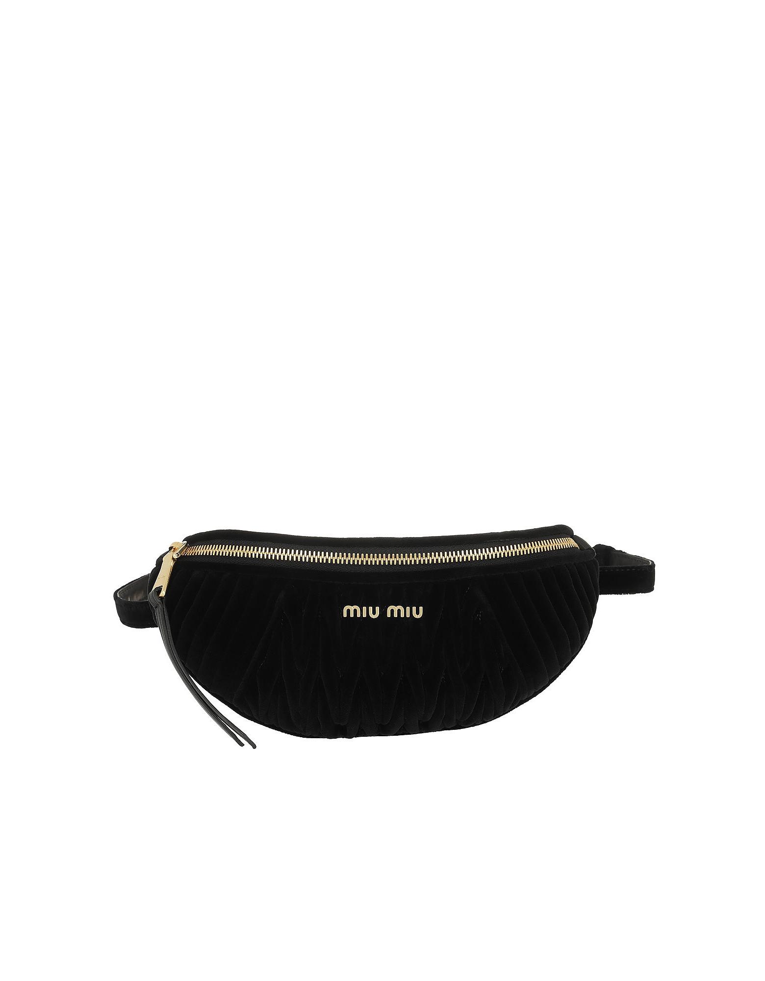 Miu Miu Handbags, Matelasse Velvet Belt Bag Nero