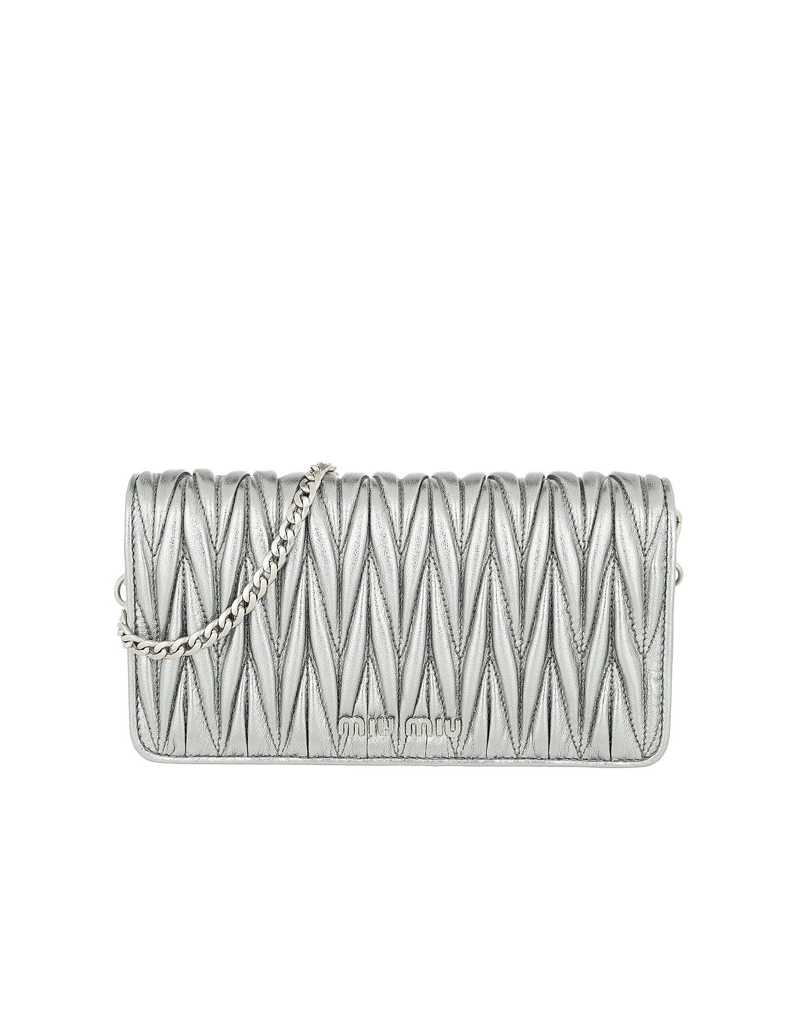 Miu Miu Handbags, Logo Wallet on Chain Cromo