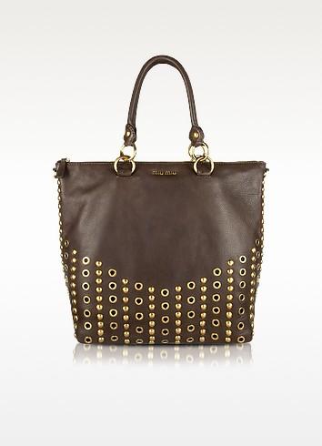 Brown Studded Deer Leather Tote Bag - Miu Miu