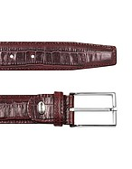Lux-ID 208392 Men's Burgundy Croco Stamped Leather Belt