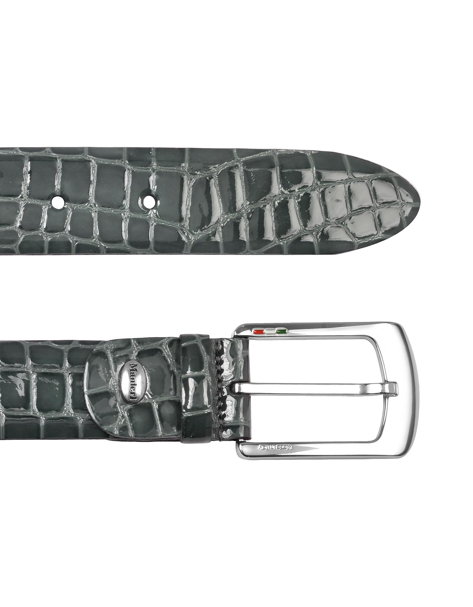 Мужской Серый Ремень из Лакированной Кожи под Крокодиловую