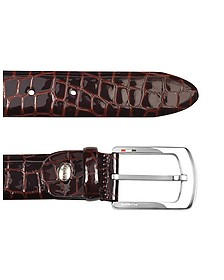Men's Brown Croco Stamped Patent Leather Belt - Manieri