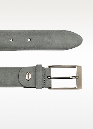 Men's Light Gray Suede Belt - Manieri