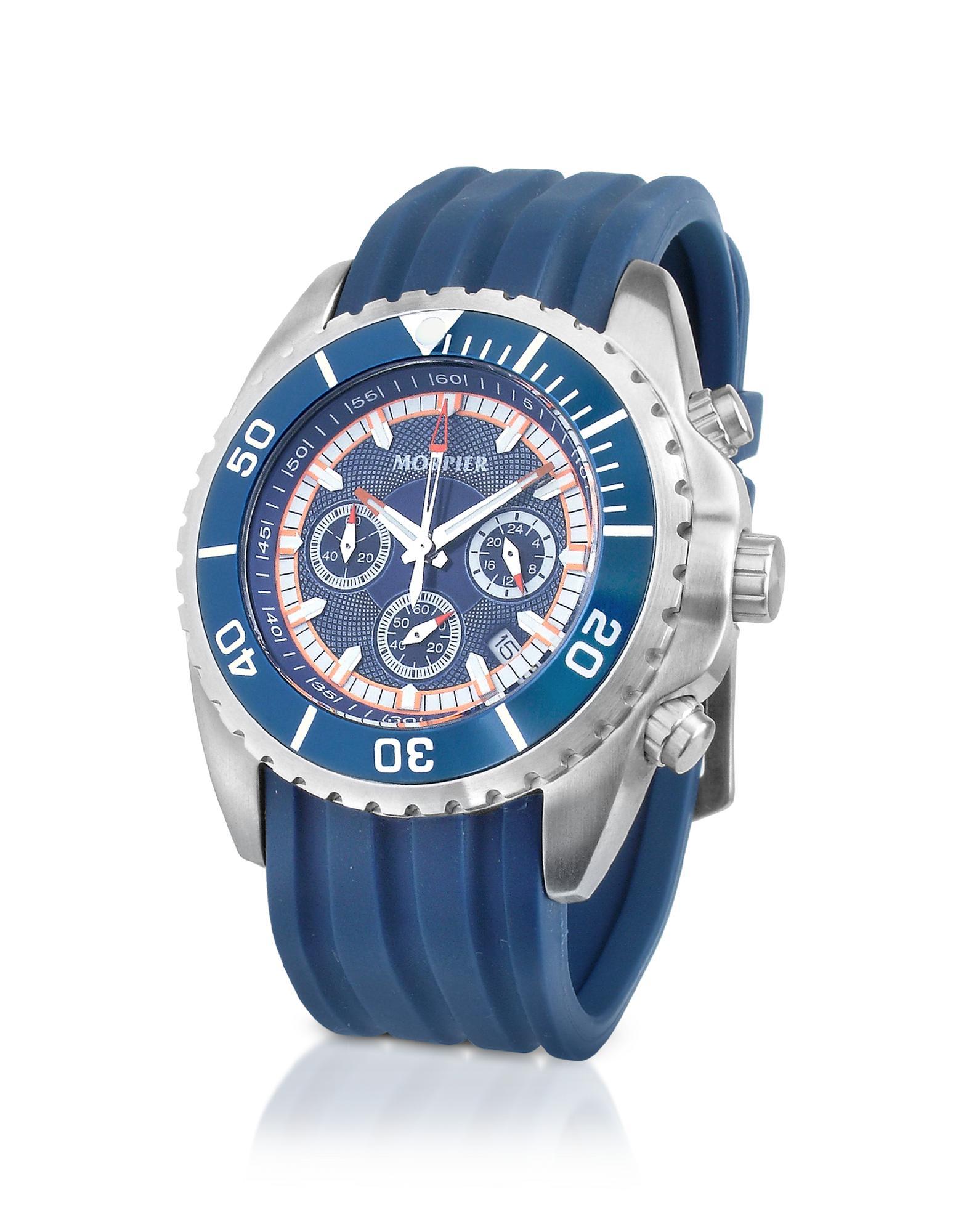 Morpier Firenze  Ocean - Blue Stainless Steel & Rubber Dive Chrono Watch