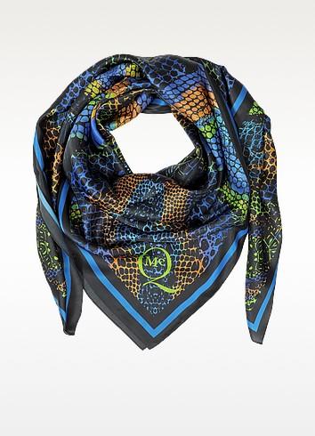 Kaleidoscope Croco Print Twil Silk Wrap - McQ Alexander McQueen