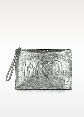 McQ Script Silver Leather Clutch - McQ Alexander McQueen