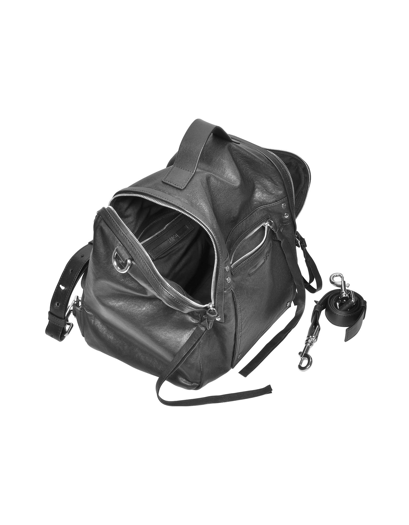 Black Leather Loveless Convertible Box Bag от Forzieri.com INT