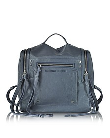 Denim Blue Leather Loveless Convertible Box Bag - McQ Alexander McQueen