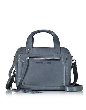 McQ Alexander McQueen - Denim Blue Leather Loveless Medium Duffle Bag