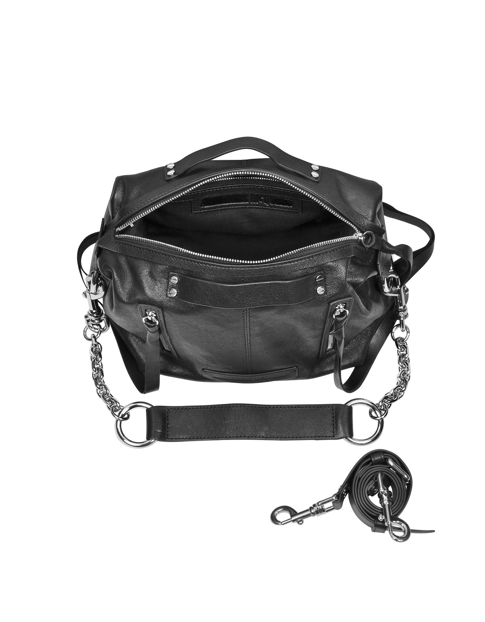 Black Leather Loveless Mini Hobo от Forzieri.com INT