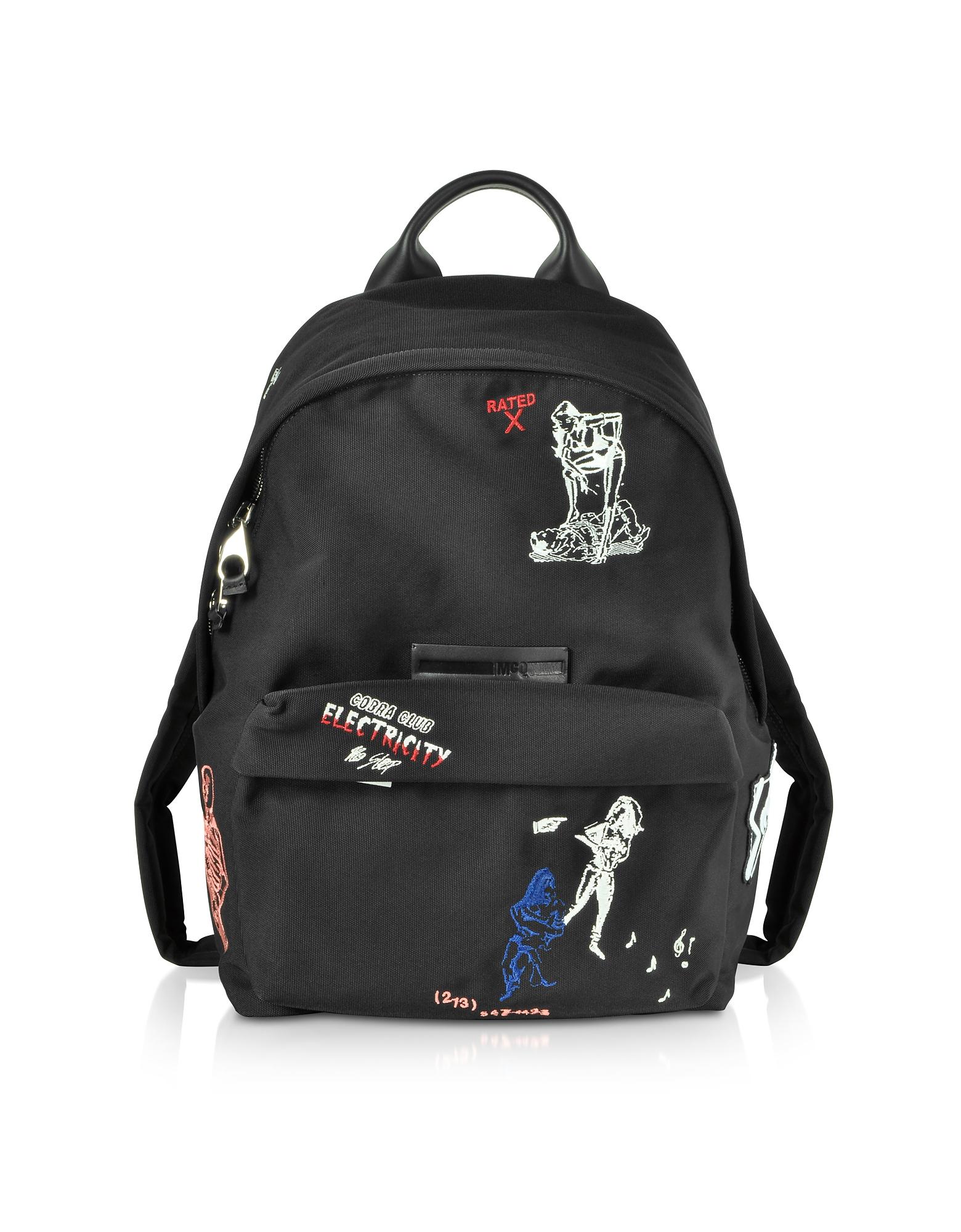 Black Embroidered Nylon Backpack