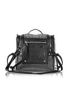 Black Studded Leather Loveless 69 Mini Convertible Box Bag  - McQ Alexander McQueen