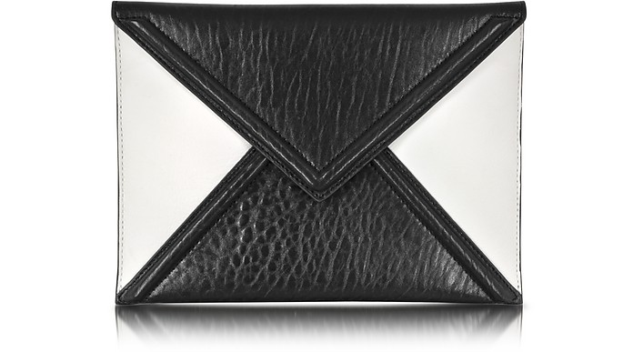 Black and White Mix Lether Envelope Clutch - McQ Alexander McQueen