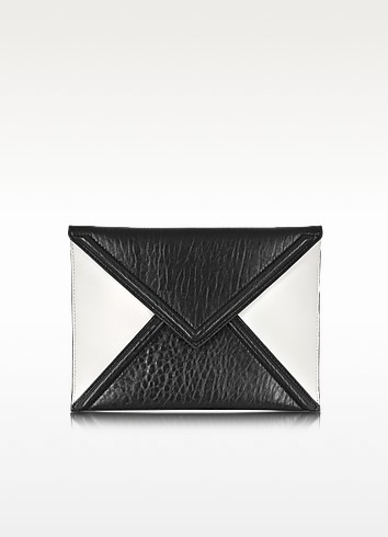 Black and White Mix Lether Envelope Clutch - McQ by Alexander McQueen / マックキュー バイ アレキサンダーマックイーン