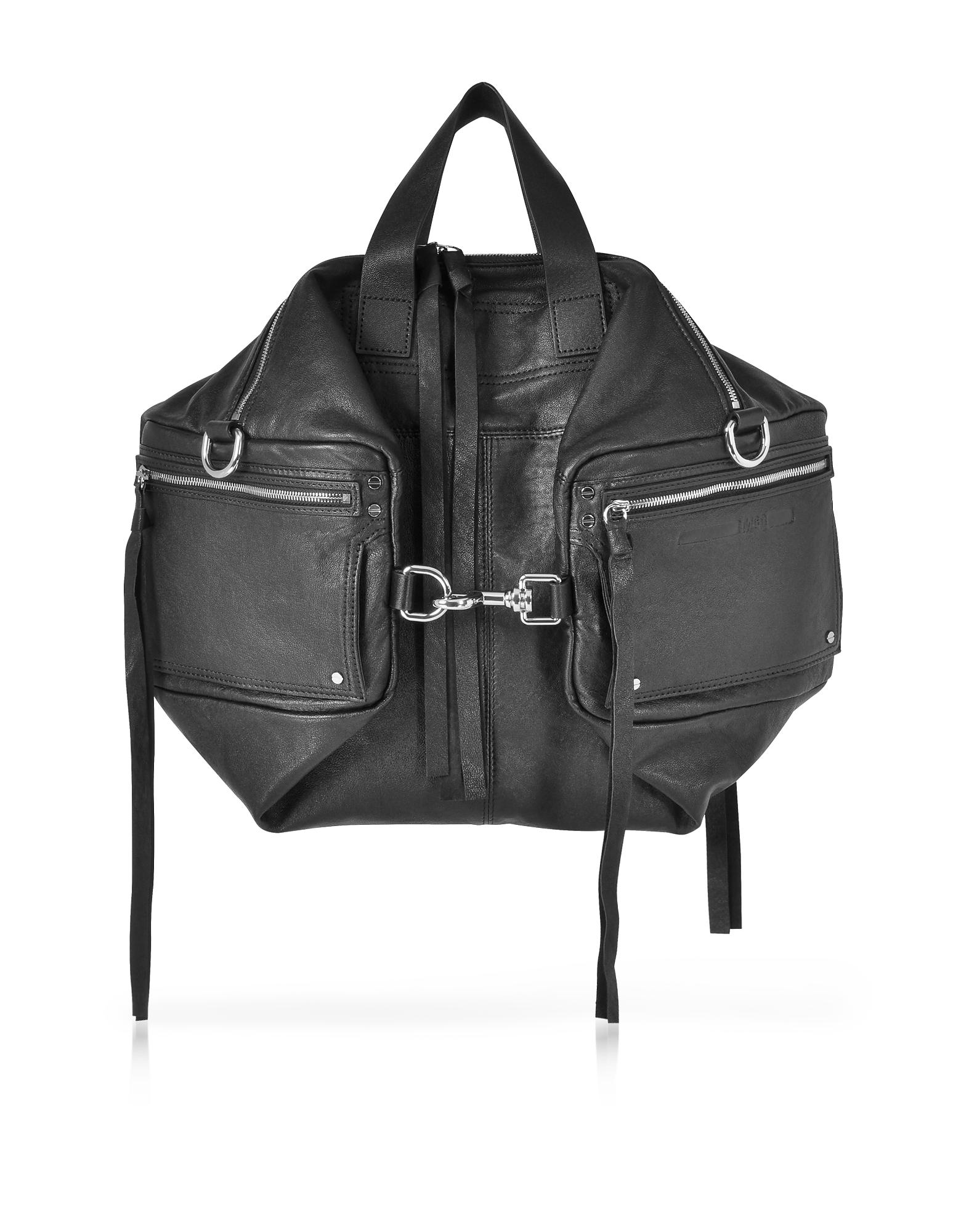 McQ Alexander McQueen Handbags, Loveless Black Leather Convertible Holdall