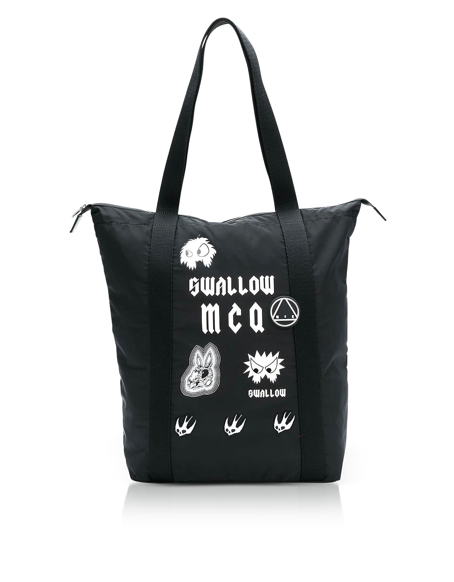 Image of McQ Alexander McQueen Designer Handbags, Sponsorship Black Nylon Shopper Bag w/ Badges