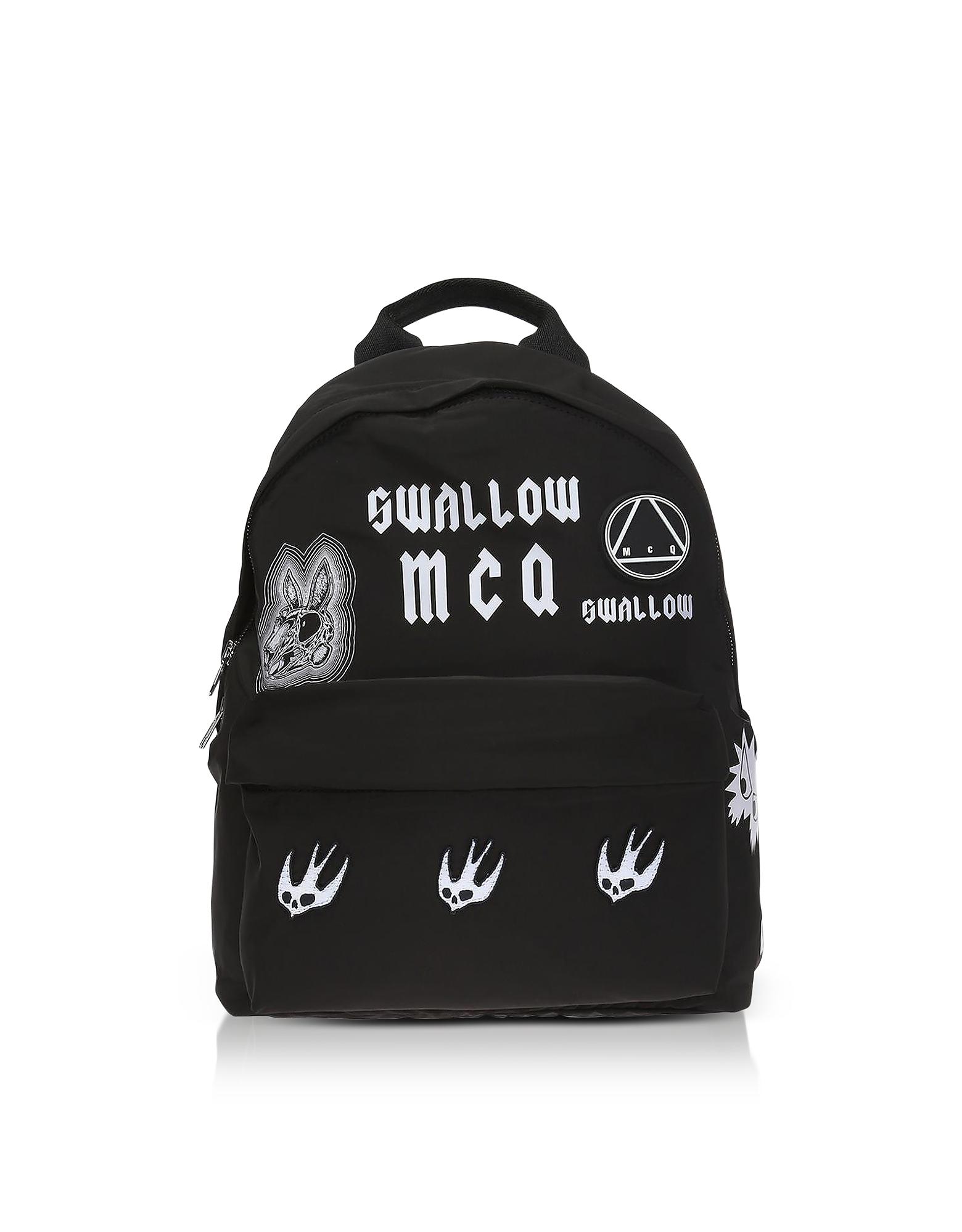 Image of McQ Alexander McQueen Designer Handbags, Sponsorship Black Nylon Women's Backpack w/ Badges
