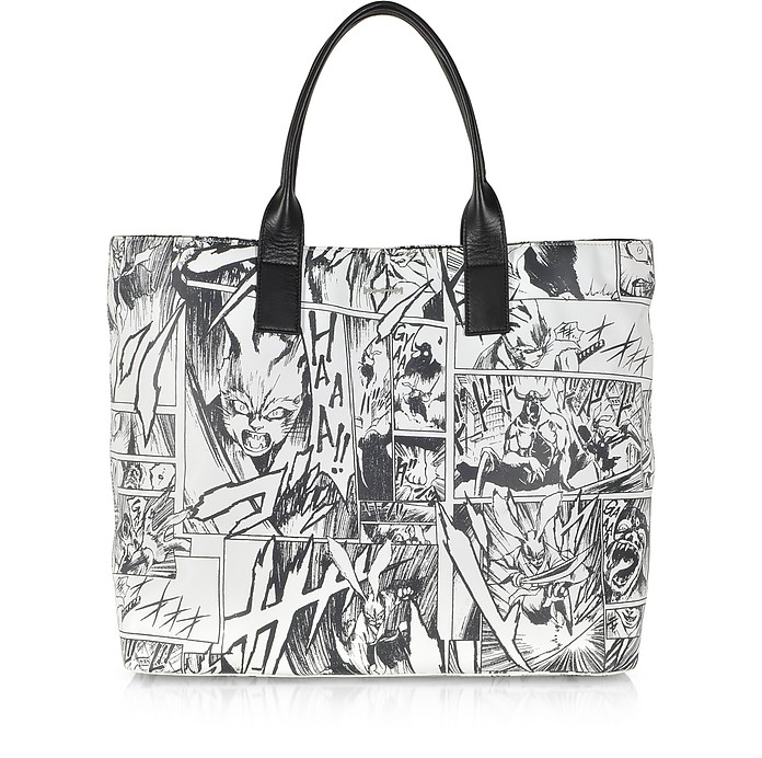 White Manga Print Leather East West Tote Bag  - McQ Alexander McQueen