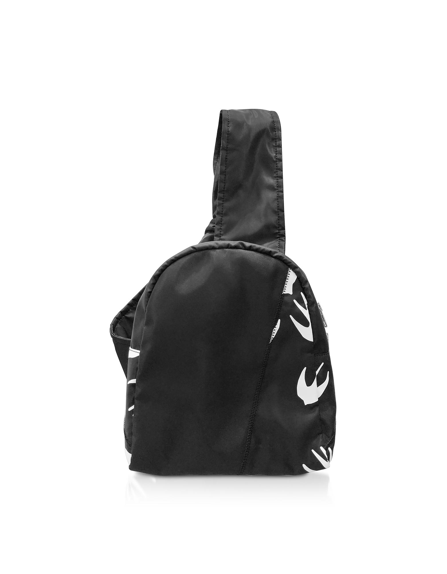 Черно-Белый Рюкзак из Нейлона с Принтом