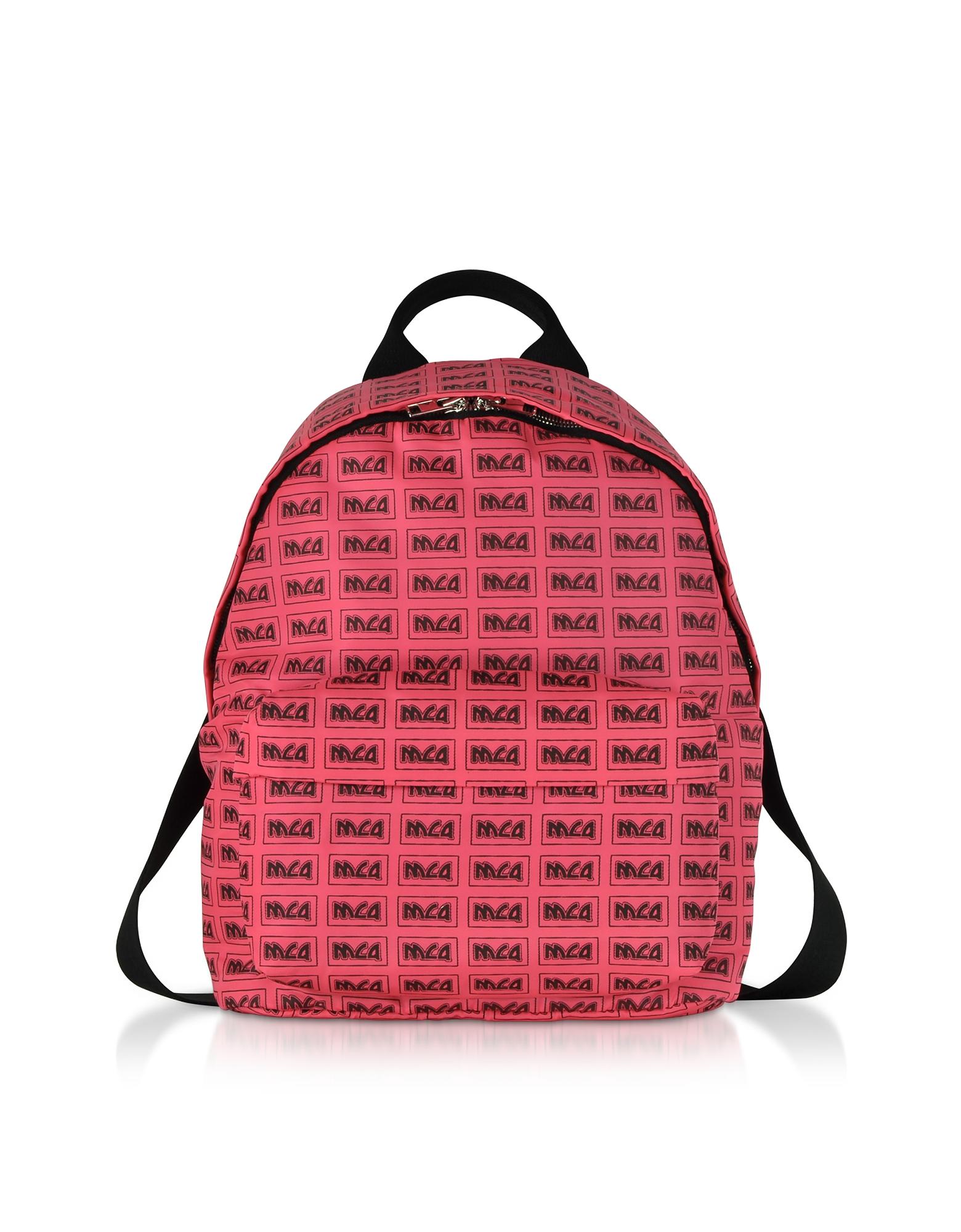 Neon Pink Metal Repeat Logo Backpack