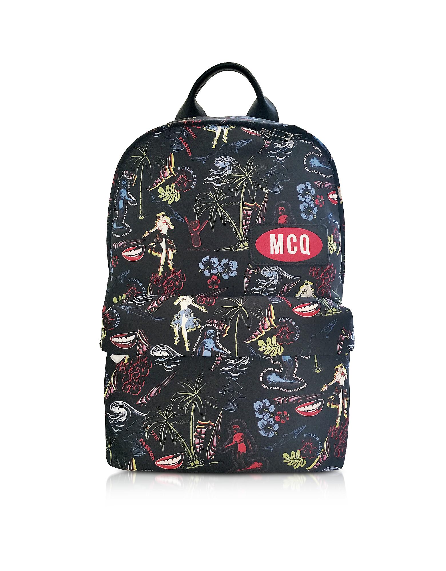 McQ Alexander McQueen Backpacks, Darkest Black Printed Nylon Classic Backpack