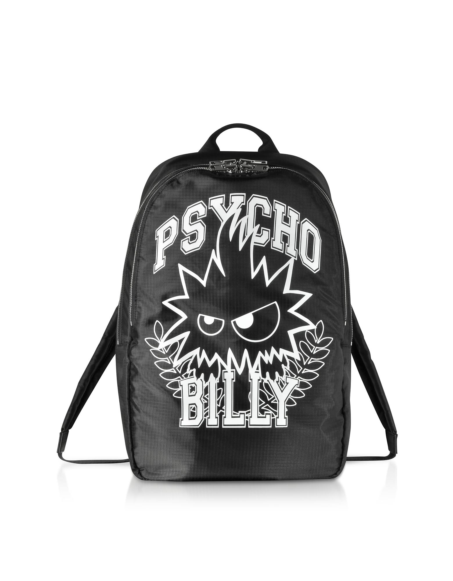 McQ Alexander McQueen Backpacks, Psycho Billy Black Nylon Backpack