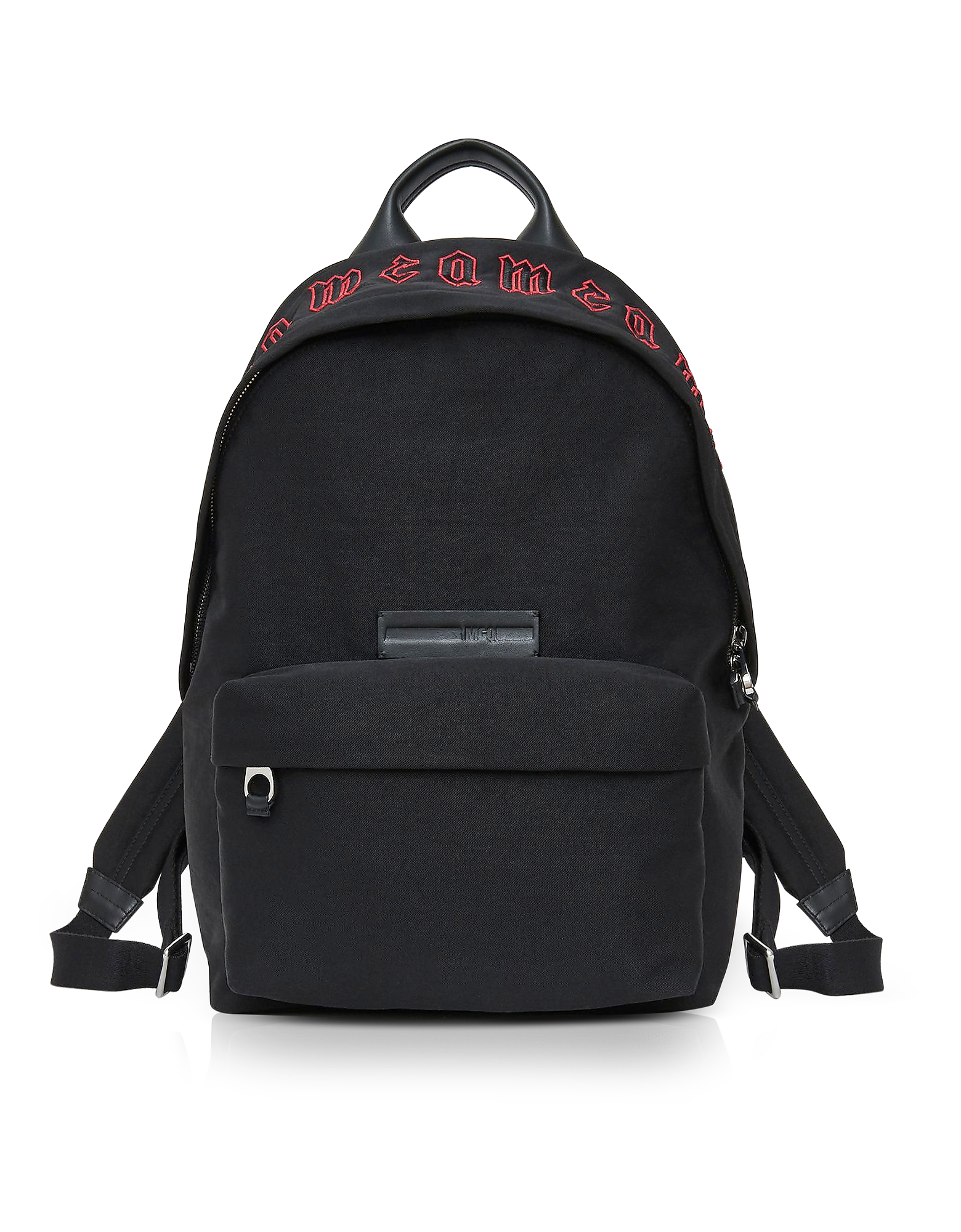 McQ Alexander McQueen Backpacks, McQ Red Gothic Repeat Black Cotton Classic Backpack