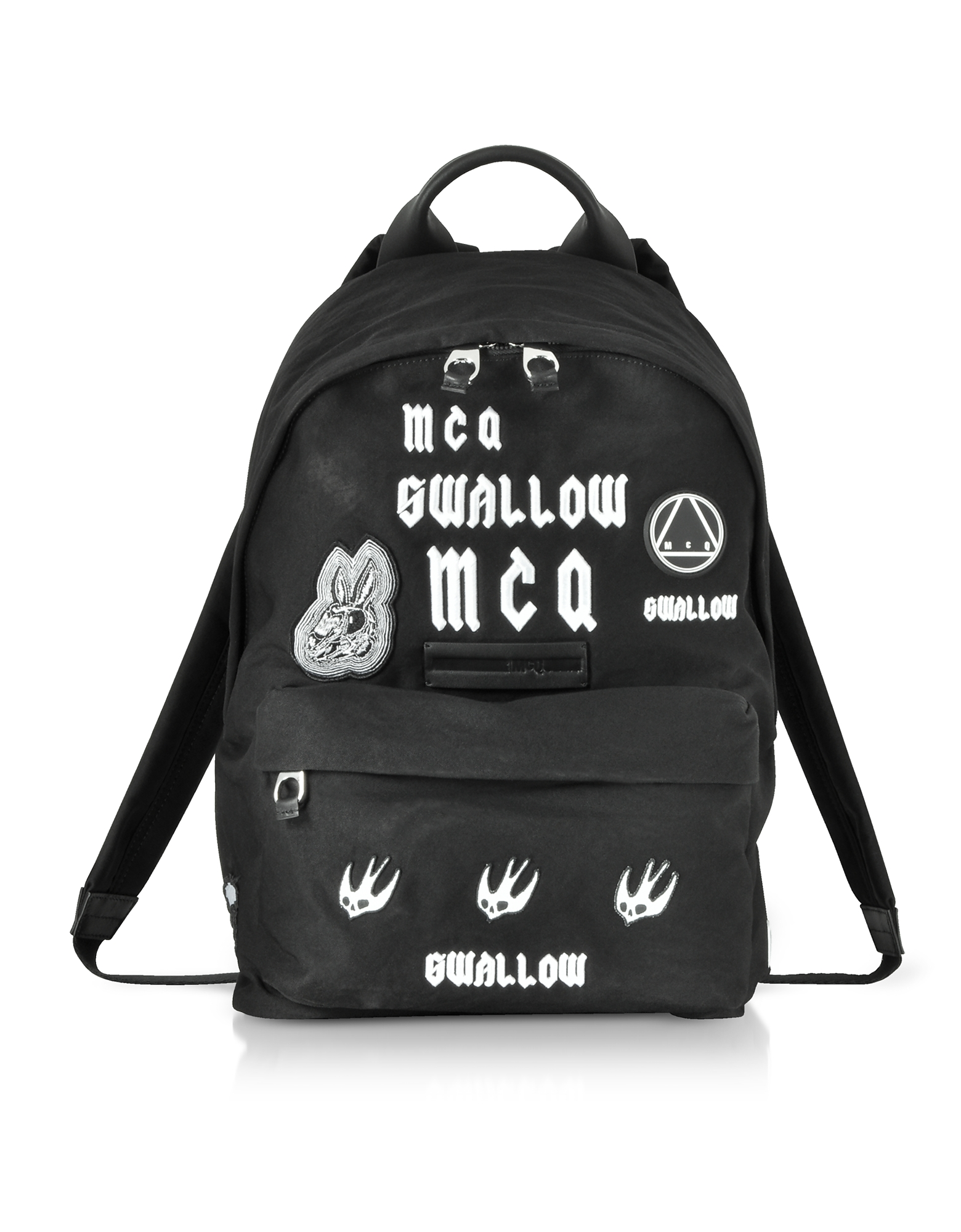 McQ Alexander McQueen Backpacks, Sponsorship Black Nylon Men's Backpack w/ Badges