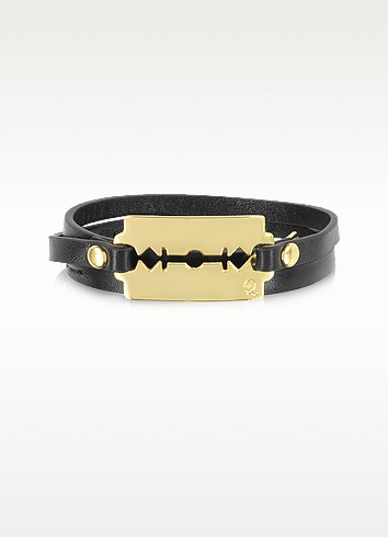 Black Triple Wrap Razor Bracelet   - McQ Alexander McQueen