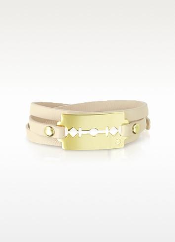 Vanilla Rose Razor Triple Wrap Leather Bracelet - McQ Alexander McQueen