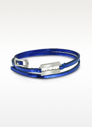 Razor Triple Wrap Metallic Leather Bracelet - McQ Alexander McQueen