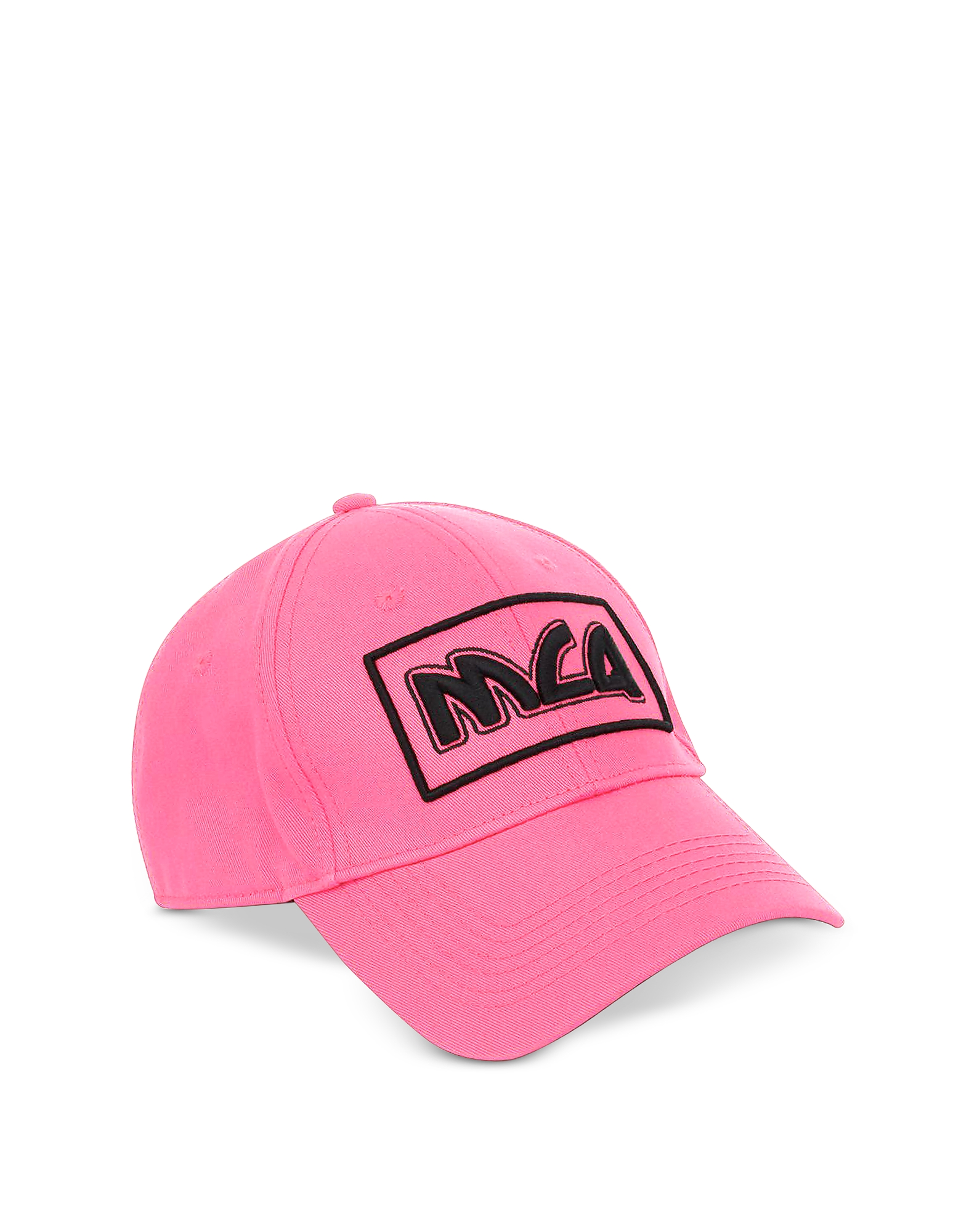 McQ Alexander McQueen Men's Hats, Neon Pink Metal Logo Cotton Baseball Cap