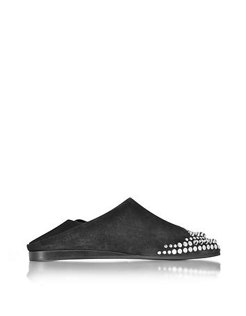 McQ Alexander McQueen - Liberty Fold Black Suede Studded Slipper