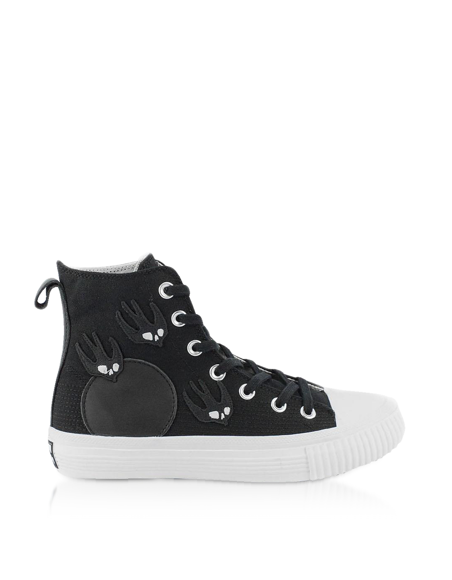 Alexander McQueen Designer Shoes, Canvas High Top Sneakers w/Swallow Patches