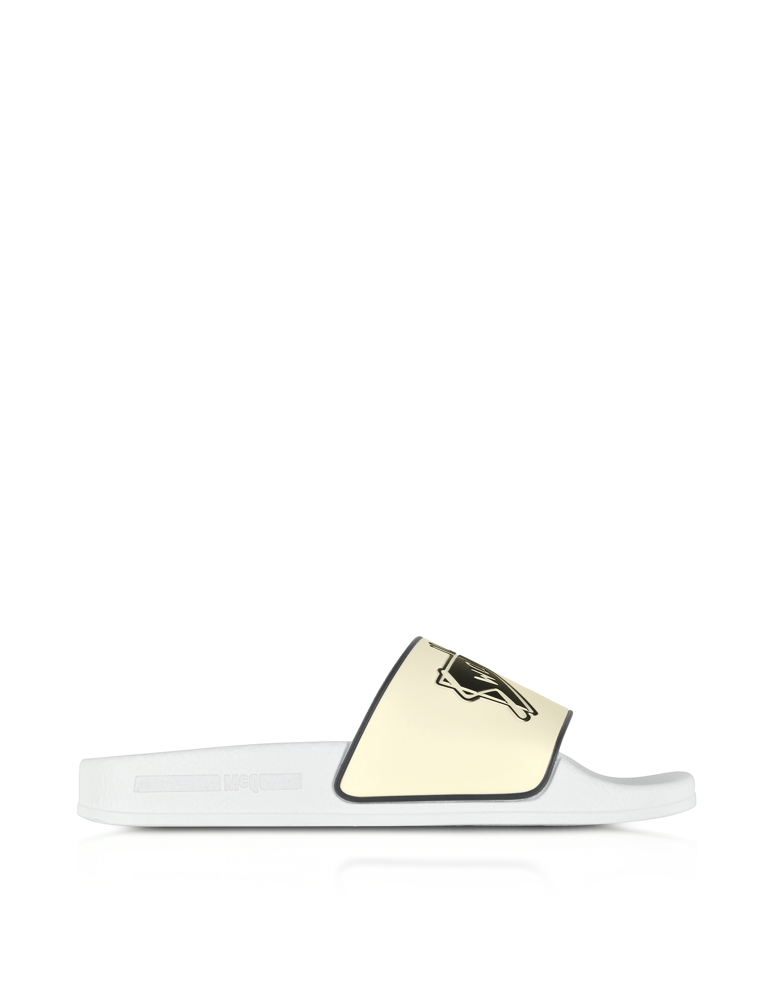 McQ Alexander McQueen Designer Shoes, White Swallow Slide Sandals