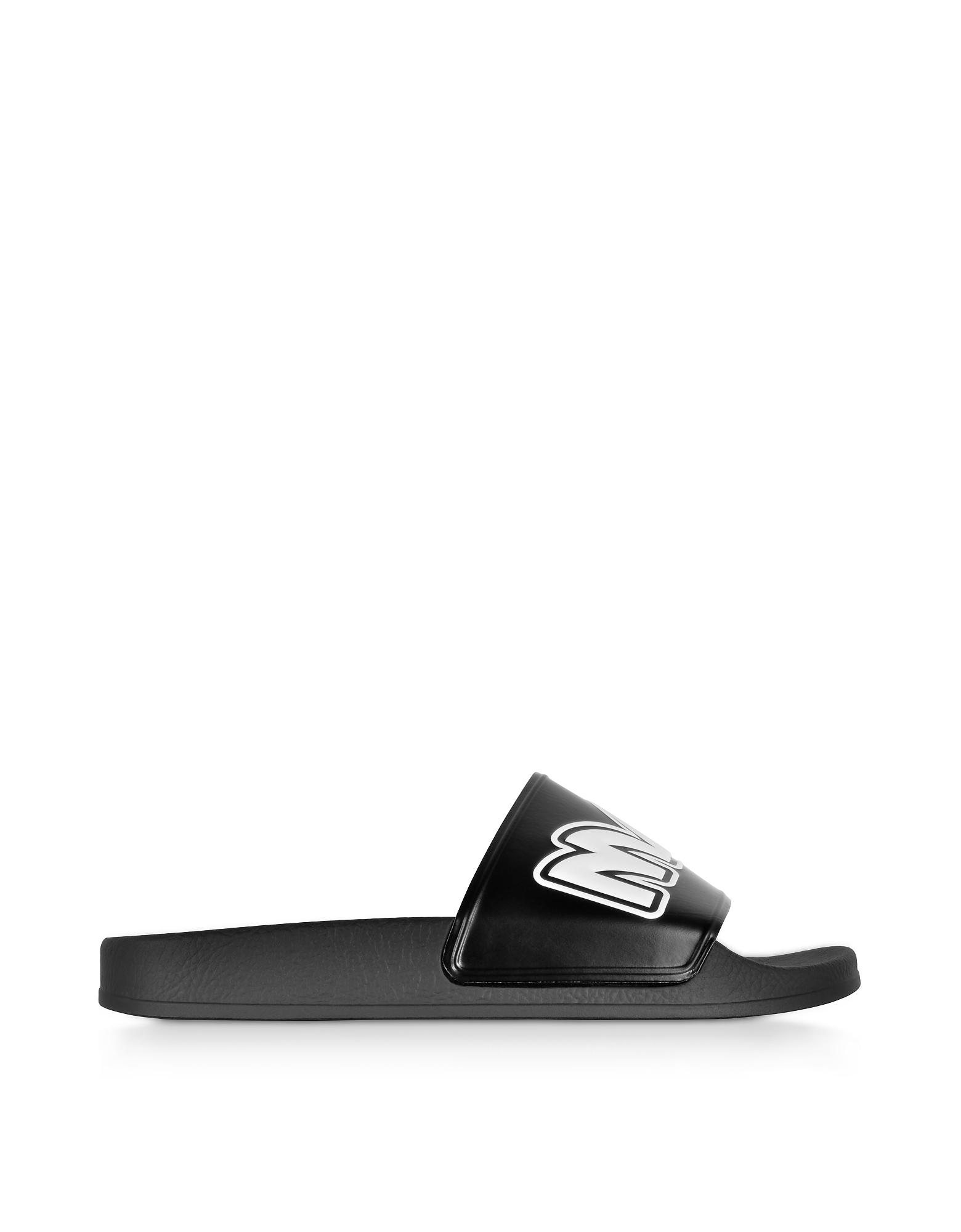 Black & White Chrissie Slide Sandals