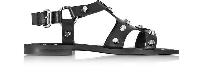 Black Leather Solenie Gladiator Sandal w/Studs - McQ Alexander McQueen