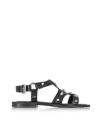 McQ Alexander McQueen - Black Leather Solenie Gladiator Sandal w/Studs