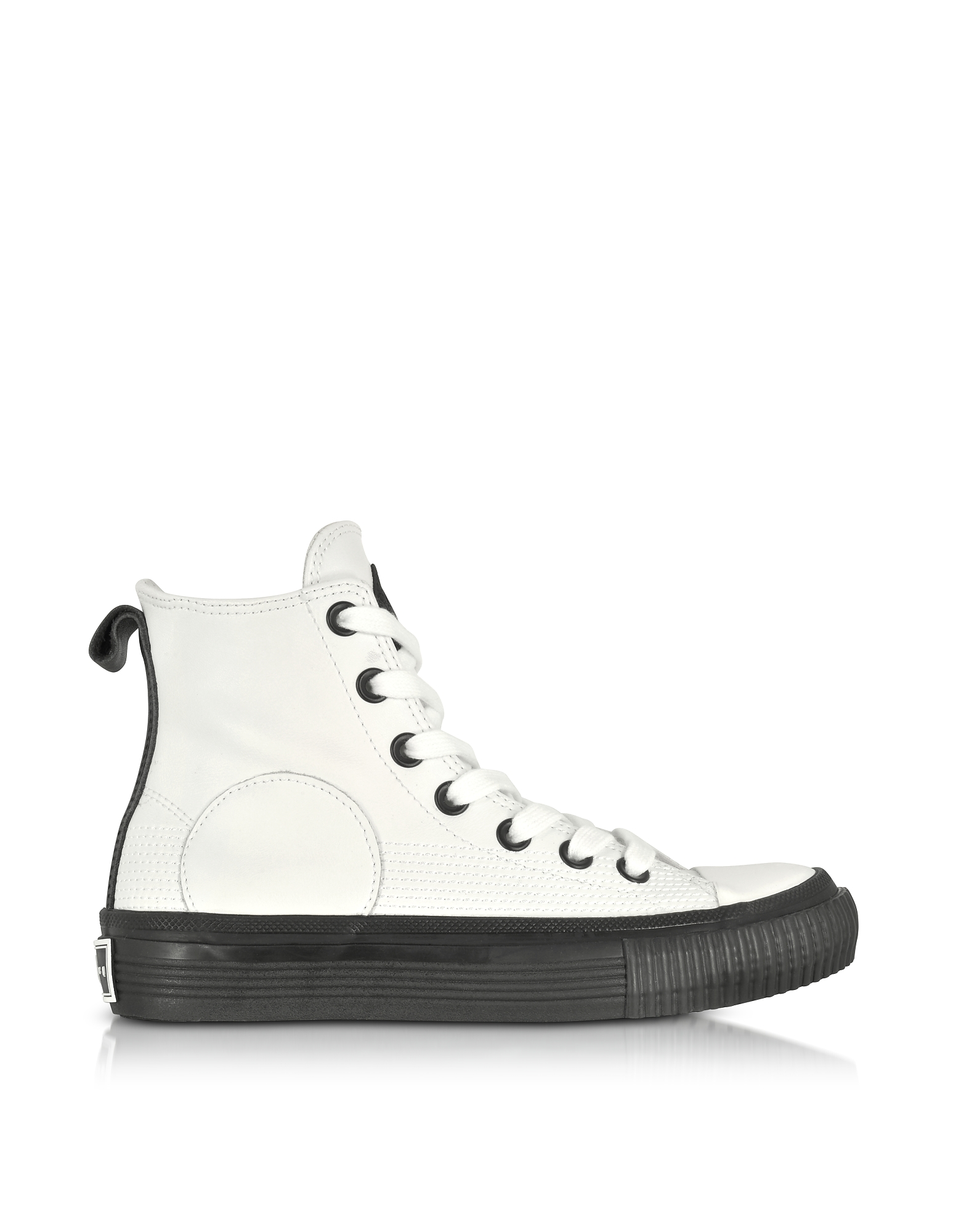 McQ Alexander McQueen Shoes, White Smooth Leather Plimsoll High Sneakers