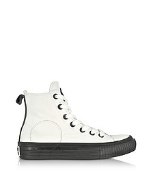 White Smooth Leather Plimsoll High Sneakers - McQ Alexander McQueen