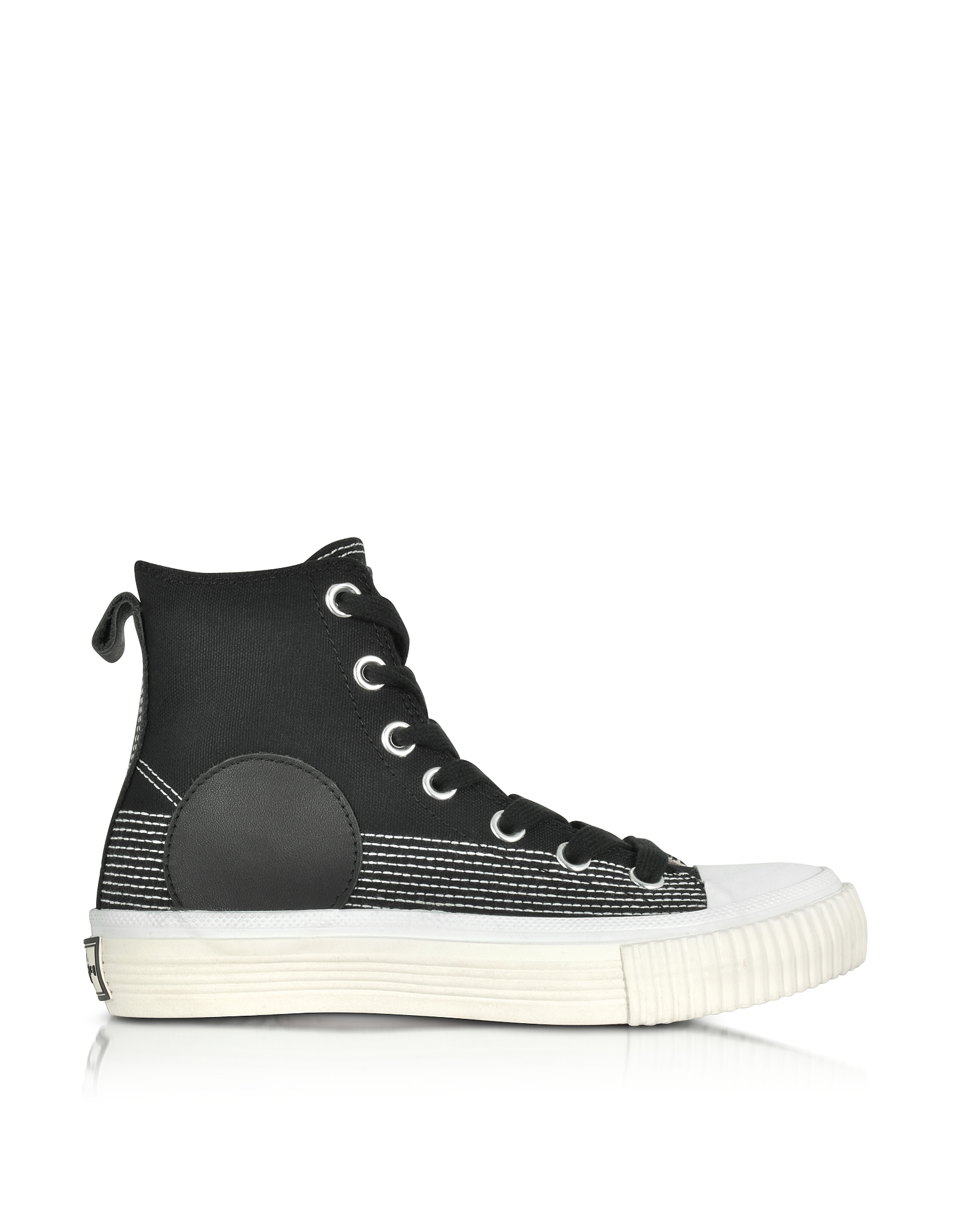 McQ Alexander McQueen Shoes, Black Canvas Plimsoll High Sneakers