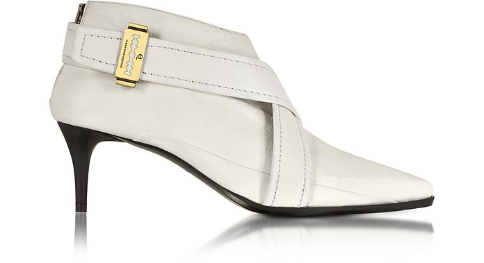 Lex Razor Back Zip Porcelain Leather Bootie - McQ Alexander McQueen