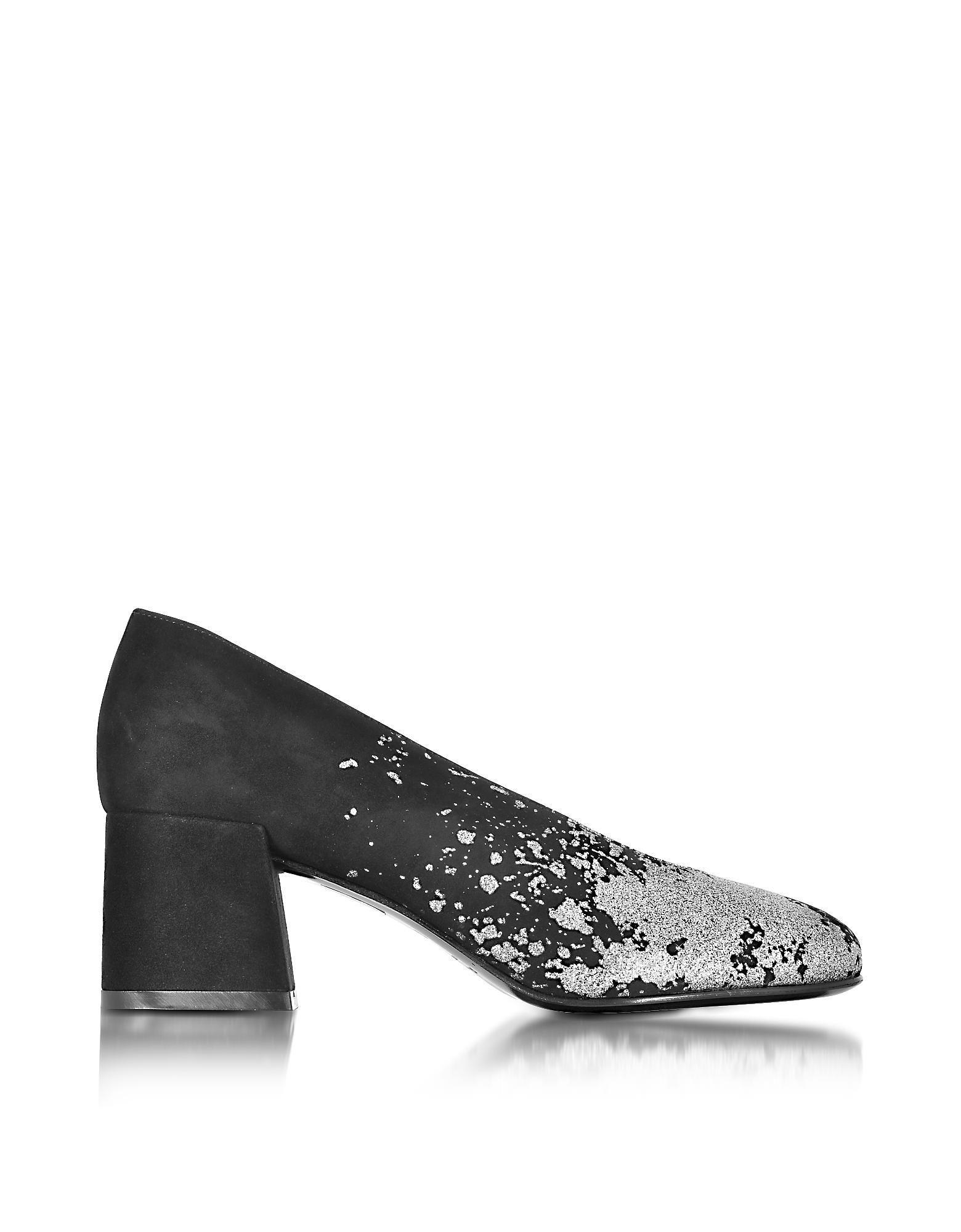 Pembury - Туфли-лодочки из Черной Замши с Серебристыми Блестками