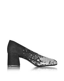 Pembury Black Suede and Silver Glitter Pump - McQ Alexander McQueen