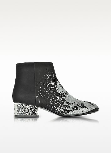 Shacklewell Silver Glitter Printed Suede Bootie  - McQ Alexander McQueen