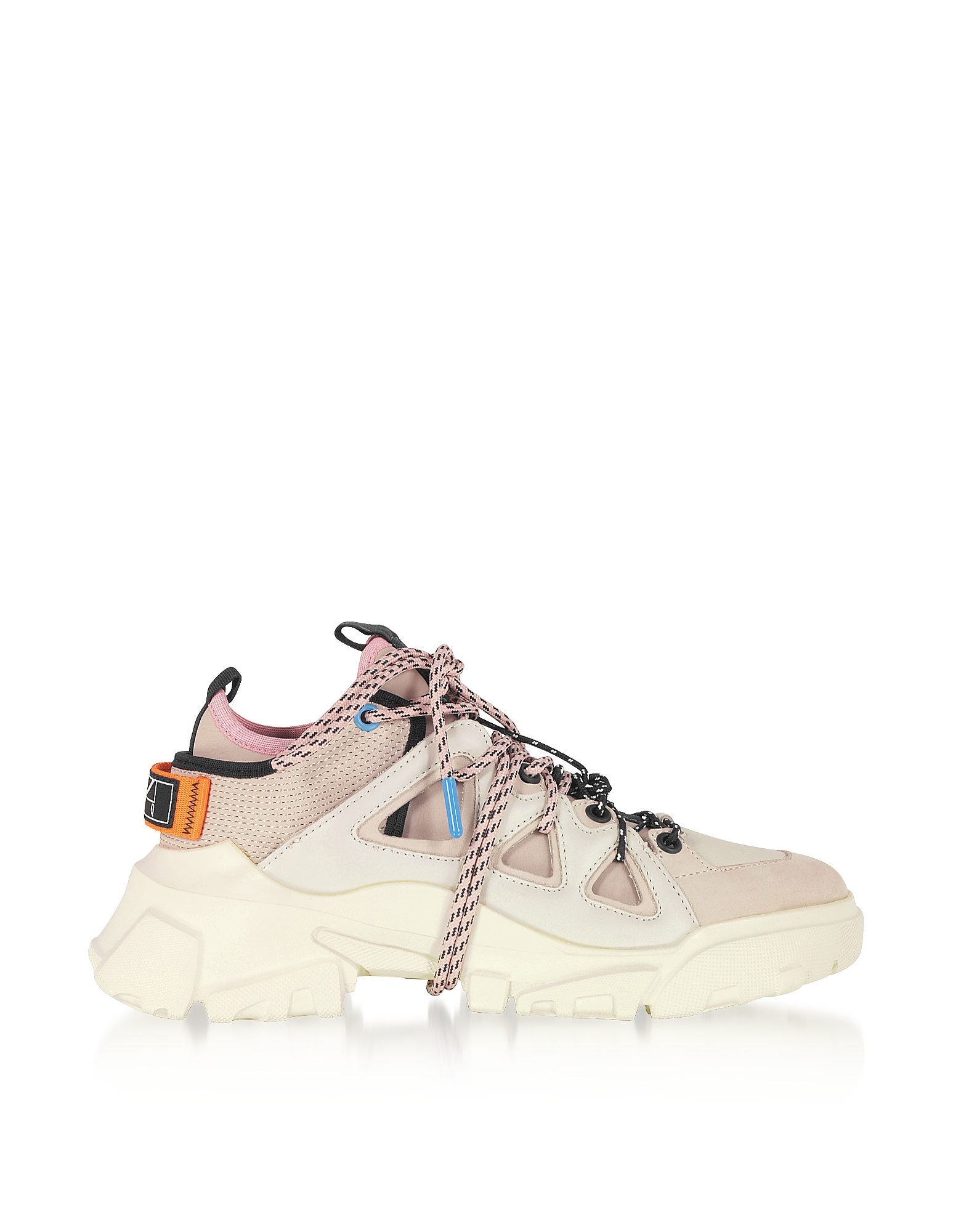 Orbyt Mid Off White Leather and Fabric Women's Sneakers