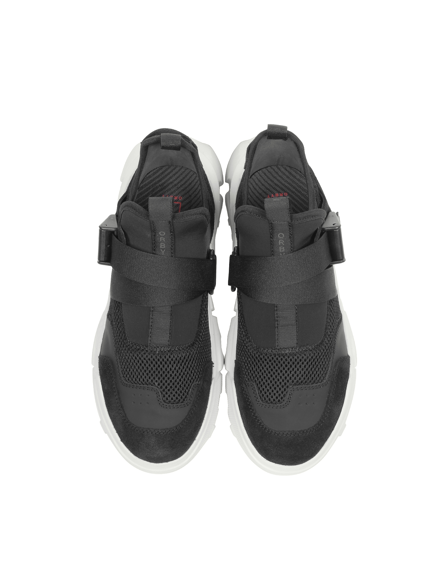 McQ Alexander McQueen / Orbit Clip Black Leather and Fabric  Women's Sneakers