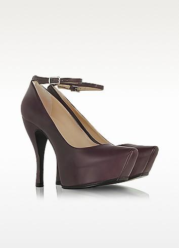 Burlesque Burgundy Leather Platform Pump - McQ Alexander McQueen