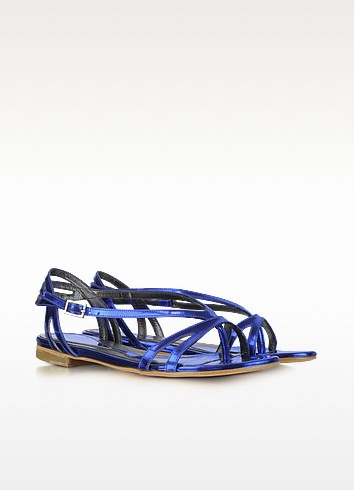 Metallic Blue Leather Sandals - McQ Alexander McQueen