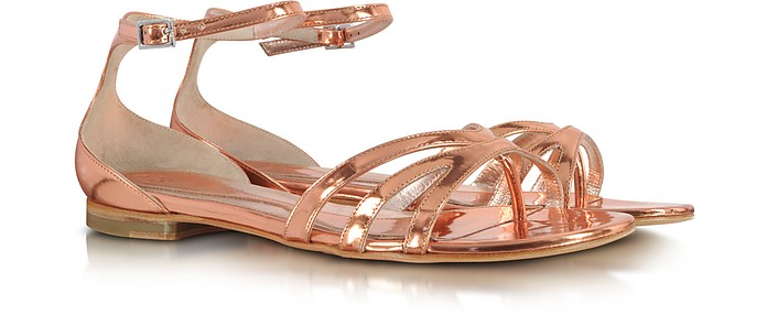 Metallic Blush Leather Flat Sandals - McQ Alexander McQueen